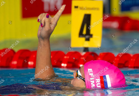 Yuliya Efimova of Russia celebrates after winning in the women's 200m Breaststroke Final at the Glasgow 2018 European Swimming Championships, Glasgow, Britain, 7 August 2018.