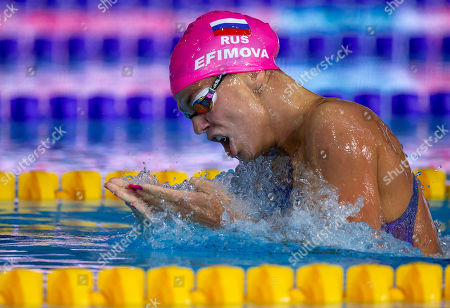 Yuliya Efimova of Russia on her way winning in the women's 200m Breaststroke Final at the Glasgow 2018 European Swimming Championships, Glasgow, Britain, 7 August 2018.