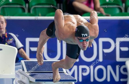 Great Britain's James Wilby sets off on his 50m Breaststroke heat.