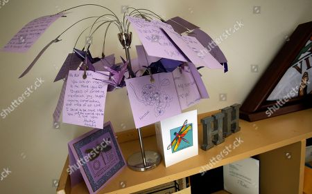 "Susan Bro, Brianna Morgan, Harlem Morgan. A tree holding notes written to Heather Heyer, who was killed during the Unite the Right rally last year, and left at her funeral sits on top of a cabinet in the office of her mother Susan Bro in Charlottesville, Va. ""I just would like people to focus on the anniversary, not on Heather, but on the issues that she died for, Black Lives Matter, overpolicing, affordable housing, for more truth and the telling of the history of Charlottesville, and to focus on where they need to go as a community,"" Bro said"