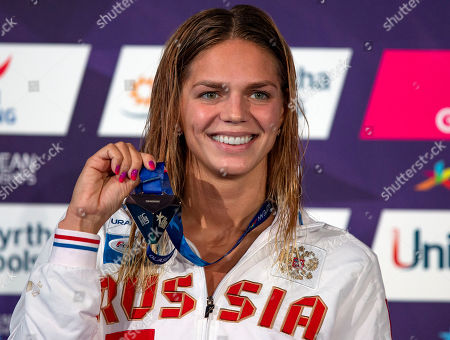 Yuliya Efimova of Russia poses with her Gold medal after winning in the women's 200m Breaststroke Final at the Glasgow 2018 European Swimming Championships, Glasgow, Britain, 7 August 2018.