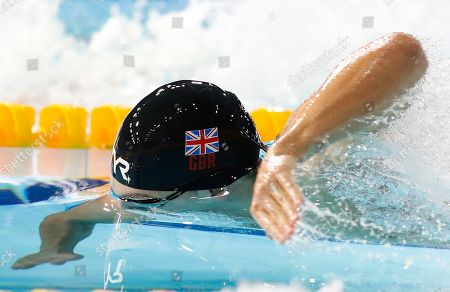 James Guy of Great Britain swims in the 200 meters freestyle men final at the European Swimming Championships in Glasgow, Scotland