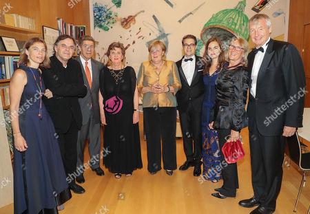 Stock Picture of Maria and Markus Hinterhaeuser, Joachim Sauer, Helga Rabl Stadler, Angela Merkel, Lukus Crepaz, wife Katharina Winkler- Crepaz, Ilse and Martin Bartenstein