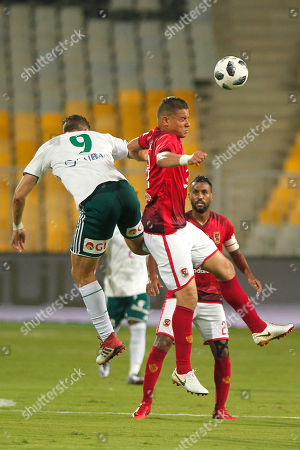 Al Ahly player Saad Samir (r) in action against Al Masry player (l) Mahmoud Wadi during the Egyptian league soccer match between Al Ahly and Al Masry in Alexandria at Borg Al Arab stadium, Egypt, 07 August 2018.