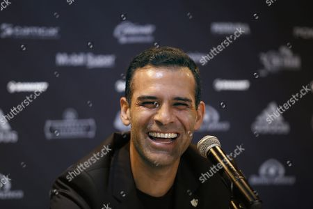 Stock Photo of Mexican former soccer player Rafael Marquez Alvarez speaks during a press conference, at the installations of the Atlas Club, in Zapopan, Jalisco, Mexico, 07 August 2018. Marquez was presented as the new sports president of the Mexican Soccer Club Atlas.