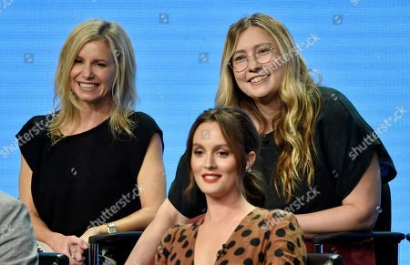 "JJ Philbin, Elizabeth Meriwether, Leighton Meester. JJ Philbin, left, and Elizabeth Meriwether, right, co-creators/executive producers of the Disney ABC television series ""Single Parents,"" take part in a q&a session with cast member Leighton Meester during the 2018 Television Critics Association Summer Press Tour, in Beverly Hills, Calif"