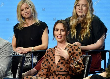 "Leighton Meester, JJ Philbin, Elizabeth Meriwether. Leighton Meester, center, a cast member in the Disney ABC television series ""Single Parents,"" answers a question as co-creators/executive producers JJ Philbin, left, and Elizabeth Meriwether look on during the 2018 Television Critics Association Summer Press Tour, in Beverly Hills, Calif"