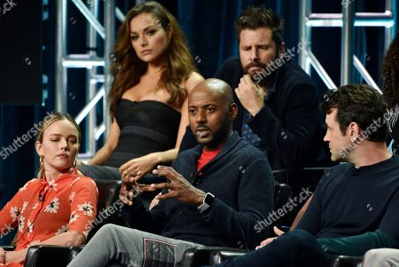 "Romany Malco, Allison Miller, Ron Livingston, Christina Ochoa, James Roday. Romany Malco, center, a cast member in the Disney ABC television series ""A Million Little Things,"" answers a reporter's question as fellow cast members, from left, Allison Miller, Christina Ochoa, James Roday and Ron Livingston look on during the 2018 Television Critics Association Summer Press Tour, in Beverly Hills, Calif"