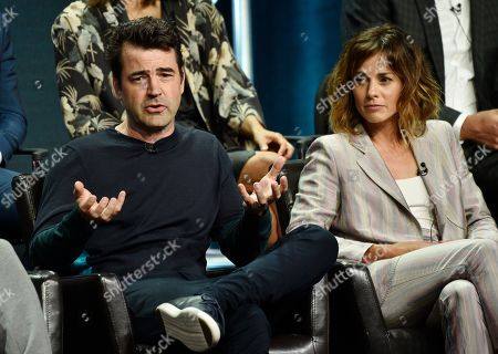 """Ron Livingston, Stephanie Szostak. Ron Livingston, left, a cast member in the Disney ABC television series """"A Million Little Things,"""" answers a question as fellow cast member Stephanie Szostak looks on during the 2018 Television Critics Association Summer Press Tour, in Beverly Hills, Calif"""