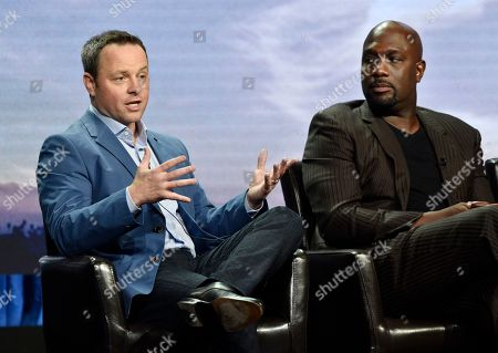 "Alexi Hawley, Richard T. Jones. Alexi Hawley, left, writer/creator/executive producer of the Disney ABC television series ""The Rookie,"" makes a point as cast member Richard T. Jones looks on during the 2018 Television Critics Association Summer Press Tour, in Beverly Hills, Calif"