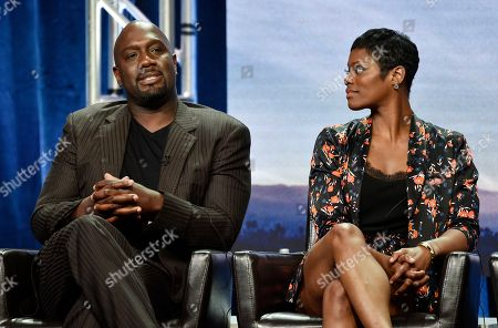 "Richard T. Jones, Afton Williamson. Richard T. Jones, left, a cast member in the Disney ABC television series ""The Rookie,"" answers a question as cast member Afton Williamson looks on during the 2018 Television Critics Association Summer Press Tour, in Beverly Hills, Calif"