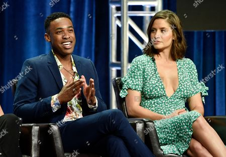 "Titus Makin Jr., Mercedes Mason. Titus Makin Jr., left, and Mercedes Mason, cast members in the Disney ABC television series ""The Rookie,"" take part in a q&a session during the 2018 Television Critics Association Summer Press Tour, in Beverly Hills, Calif"