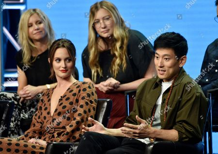 "Jake Choi, right, a cast member in the Disney ABC television series ""Single Parents,"" answers a question as fellow cast member Leighton Meester, front left, and co-creators/executive producers JJ Philbin, top left, and Elizabeth Meriwether look on during the 2018 Television Critics Association Summer Press Tour, in Beverly Hills, Calif"