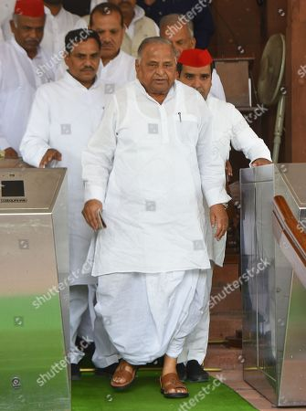 Patriarch of Samajwadi Party Mulayam Singh Yadav with party leaders during Monsoon Session at the Parliament