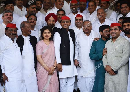 Patriarch of Samajwadi Party Mulayam Singh Yadav with son Akhilesh Yadav, daughter-in-law Dimple Yadav and other party leaders during Monsoon Session at the Parliament