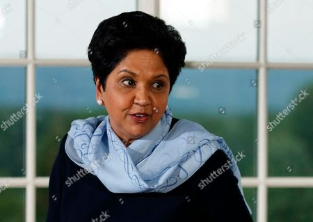 PepsiCo's departing CEO Indra Nooyi, speaks during a dinner meeting with President Donald Trump and other business leaders, at Trump National Golf Club in Bedminster, N.J