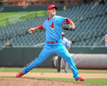 Memphis pitcher, Matt Bowman (75), in action during the Pacific Coast League Triple-A baseball game at Auto Zone Park in Memphis, TN. Memphis defeated Fresno, 6-5, after 10 innings of play