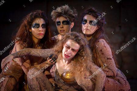 Spanish actresses Silvia Abascal (2-R), Karina Garantiva (L), Ondina Maldonado (2-L) and Olivia Molina (R) perform on stage during the dress rehearsal of the play 'Las Amazonas' (The Amazons) as part of Merida's Classic Theatre International Festival held at the Roman Theatre in Merida, Spain, 08 August 2018.