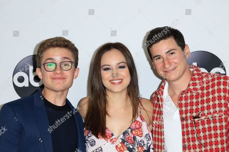 US actors (L-R) Sean Giambrone, Hayley Orrantia, Sam Lerner arrive at the ABC TCA Summer Press Tour 2018 at the Beverly Hilton Hotel in Beverly Hills, California, USA 07 August 2018.