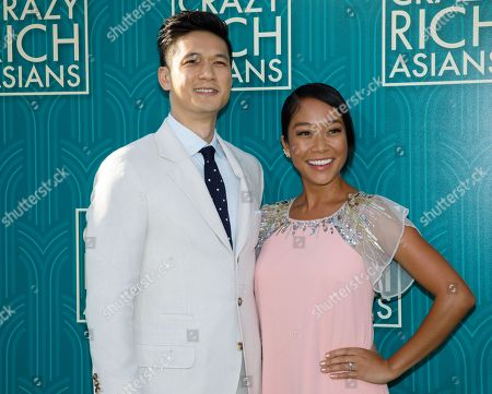 US actor/cast member Harry Shum Jr. (L) and wife, US actress Shelby Rabara attend the US premiere of 'Crazy Rich Asians' at the TCL Chinese Theatre IMAX in Hollywood, Los Angeles, California, USA, 07 August 2018. The movie opens in the US on 15 August.