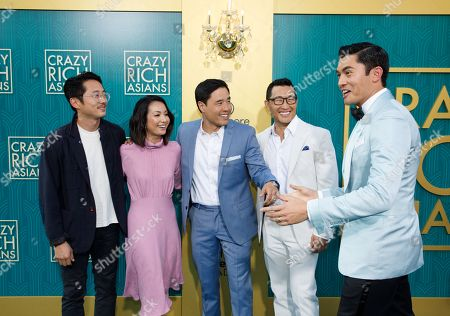 US actor Steven Yuen (L-R) US actress Jae Suh Park, husband US actor Randall Park, US-Korean actor Daniel Dae Kim and British-Malaysian actor/cast member Henry Golding attend the US premiere of 'Crazy Rich Asians' at the TCL Chinese Theatre IMAX in Hollywood, Los Angeles, California, USA, 07 August 2018. The movie opens in the US on 15 August.