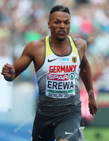 Robin Erewa of Germany competes in the men's 200m Heats at the Athletics 2018 European Championships in Berlin, Germany, 08 August 2018