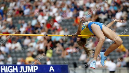 Yuliya Levchenko of Ukraine competes in the women's High Jump qualification at the Athletics 2018 European Championships, Berlin, Germany, 08 August 2018.