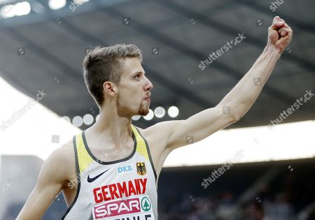 Fabian Heinle of Germany celebrates after jumping 8.13m in the men's Long Jump final at the Athletics 2018 European Championships, Berlin, Germany, 08 August 2018.