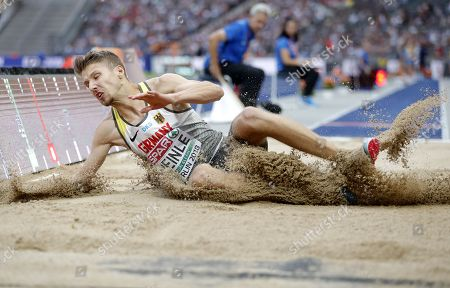 Fabian Heinle of Germany competes in the men's Long Jump final at the Athletics 2018 European Championships, Berlin, Germany, 08 August 2018.