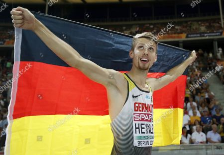Fabian Heinle of Germany celebrates after placing second in the men's Long Jump final at the Athletics 2018 European Championships, Berlin, Germany, 08 August 2018.