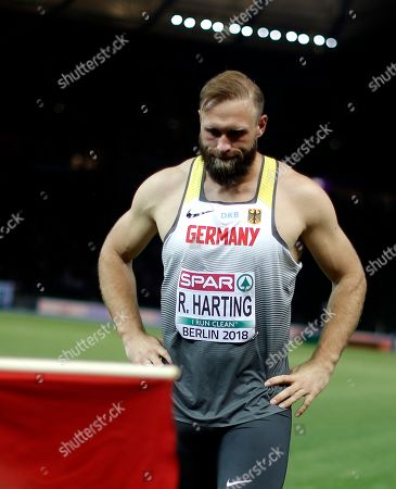Robert Harting of Germany reacts after the Men's Discus Throw at the Athletics 2018 European Championships, Berlin, Germany, 08 August 2018.