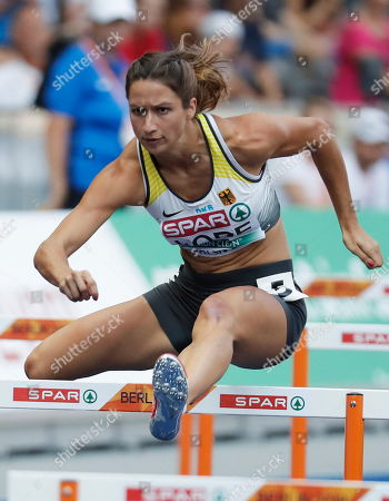 Ricarda Lobe of Germany competes in the women's 100m Hurdles Heats  at the Athletics 2018 European Championships in Berlin, Germany, 08 August 2018.