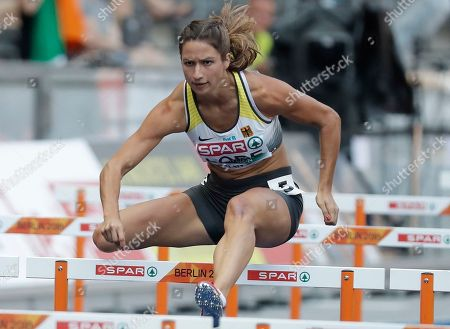 Stock Picture of Ricarda Lobe of Germany competes in the women's 100m Hurdles Heats  at the Athletics 2018 European Championships in Berlin, Germany, 08 August 2018.