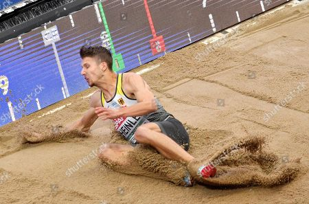 Stock Image of Germany's Fabian Heinle makes an attempt in the men's long jump final at the European Athletics Championships in Berlin, Germany