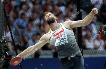 Germany's Robert Harting makes an attempt in the men's discus throw final at the European Athletics Championships at the Olympic stadium in Berlin, Germany