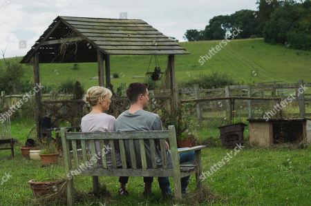 Stock Photo of Amelia Bullmore as Olivia Clarke, Joe Dempsie as Harry Clarke