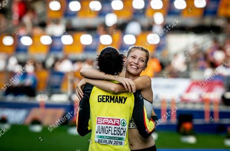 Women's High Jump Heats. German team mates Imke Onnen and Marie Laurence Jungfleisch celebrate qualifying