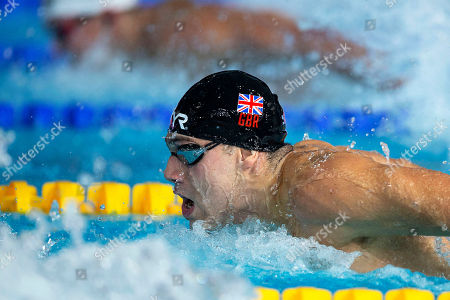 James Guy of Great Britain competes in the men's 100m Butterfly Heats at the Glasgow 2018 European Swimming Championships, Glasgow, Britain, 08 August 2018.