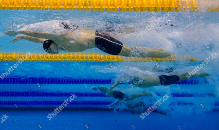 James Guy (top) of Great Britain competes in the men's 100m Butterfly Heats at the Glasgow 2018 European Swimming Championships, Glasgow, Britain, 08 August 2018.