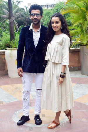 "Indian film actress Shraddha Kapoor and Rajkumar Rao pose during the promotion of their upcoming film ""Stree"" at hotel Novotel Juhu in Mumbai."