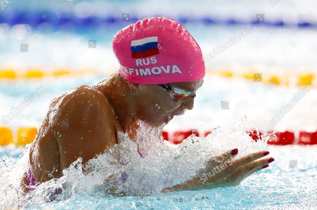Yuliya Efimova of Russia swims in the 50 meter breastroke women semi-final at the European Swimming Championships in Glasgow, Scotland