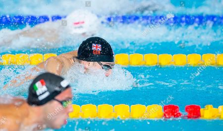 Great Britain's James Guy races in his 100m Butterfly heat.