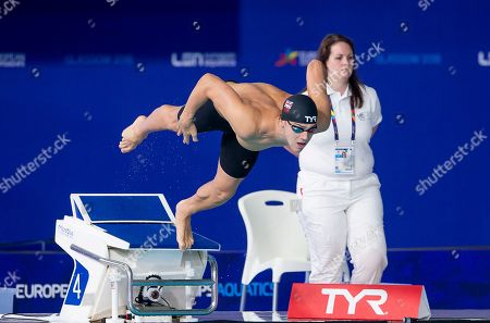 Great Britain's James Guy sets off on his 100m Butterfly heat.