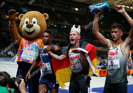Ruben GADO (FRA), Arthur ABELE (GER), Niklas KAUL (GER) during the European Championships 2018, at Olympic Stadium in Berlin, Germany, Day 2, on August 8, 2018