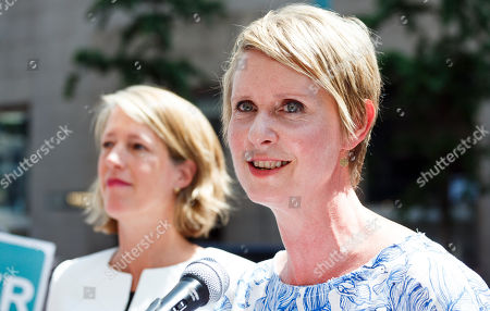 Democratic candidate for New York governor Cynthia Nixon (R) endorses Zephyr Teachout (L) for New York Attorney General during a press conference across the street from Trump Tower in New York, New York, USA, 08 August 2018. Teachout is running against a crowded field of candidates for the New York Attorney General position that was vacated when the former Attorney General Eric Schneiderman resigned.