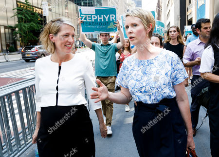 Candidate for New York attorney general Zephyr Teachout (L) walks with Democratic candidate for New York governor Cynthia Nixon (R) after being endorsed by her at a press conference across the street from Trump Tower in New York, New York, USA, 08 August 2018. Teachout is running against a crowded field of candidates for the New York Attorney General position that was vacated when the former Attorney General Eric Schneiderman resigned.