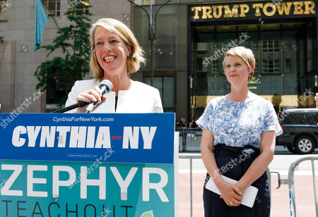Candidate for New York attorney general Zephyr Teachout (L) is endorsed by Democratic candidate for New York governor Cynthia Nixon (R) during a press conference across the street from Trump Tower in New York, New York, USA, 08 August 2018. Teachout is running against a crowded field of candidates for the New York Attorney General position that was vacated when the former Attorney General Eric Schneiderman resigned.