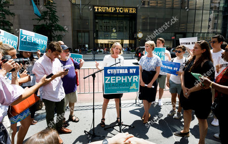 Candidate for New York attorney general Zephyr Teachout (C) speaks after being endorsed by Democratic candidate for New York governor Cynthia Nixon (6-R) during a press conference across the street from Trump Tower in New York, New York, USA, 08 August 2018. Teachout is running against a crowded field of candidates for the New York Attorney General position that was vacated when the former Attorney General Eric Schneiderman resigned.