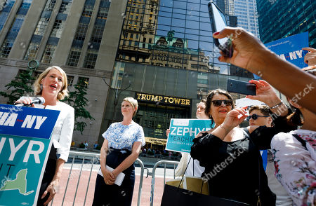 Candidate for New York attorney general Zephyr Teachout (L) speaks after being endorsed by Democratic candidate for New York governor Cynthia Nixon (2-L) during a press conference across the street from Trump Tower in New York, New York, USA, 08 August 2018. Teachout is running against a crowded field of candidates for the New York Attorney General position that was vacated when the former Attorney General Eric Schneiderman resigned.