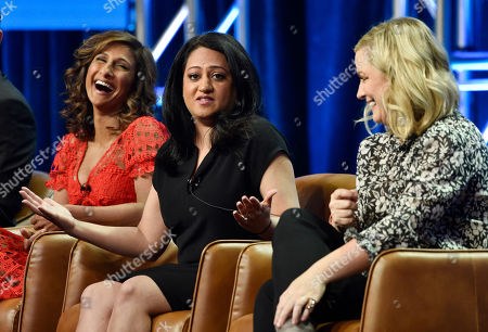 "Sarayu Blue, Aseem Batra, Amy Poehler. Aseem Batra, center, executive producer of the NBC Universal television series ""I Feel Bad,"" takes part in a q&a session with cast member Sarayu Blue, left, and executive producer Amy Poehler during the 2018 Television Critics Association Summer Press Tour, in Beverly Hills, Calif"